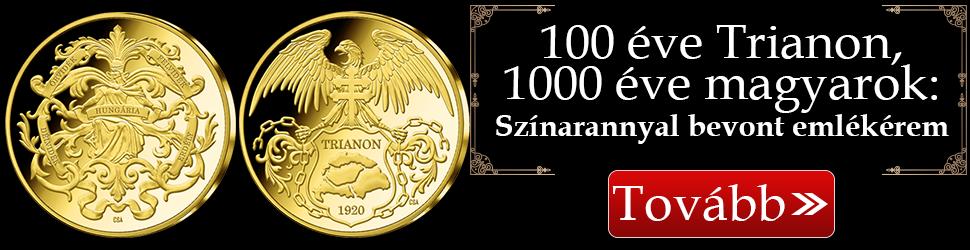 Magyar Éremkibocsátó Kft. - Trianon emlékérem színarany bevonattal, február 29-ig kedvezményes áron