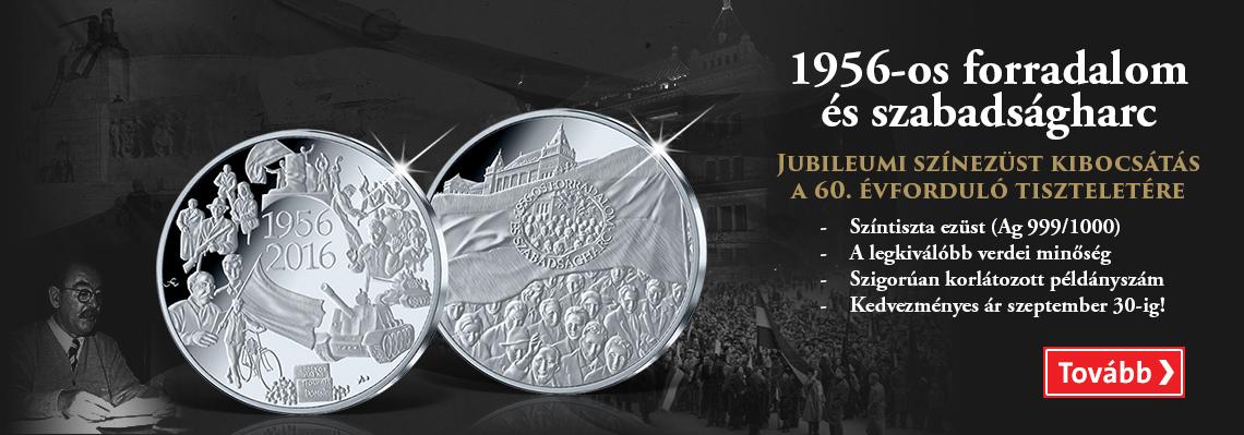 Jubileumi színezüst emlékérem az 1956-os forradalom és szabadságharc 60. évfordulójának tiszteletére