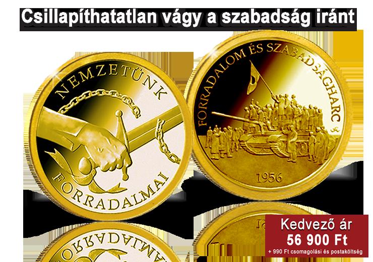 1956-os forradalom emlékérem 14 karátos aranyból