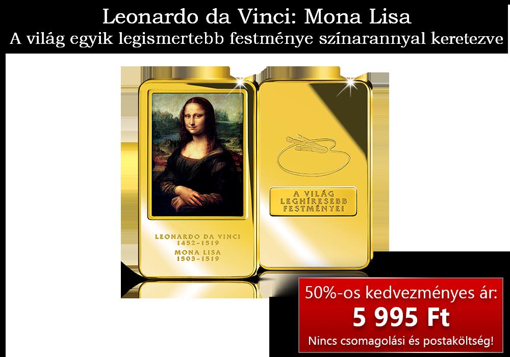 Leonardo da Vinci: Mona Lisa színarannyal bevont gyűjtői rúdon