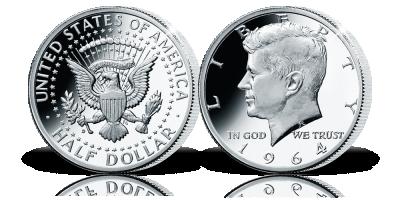 Hivatalos ezüst dollár John F. Kennedy tiszteletére