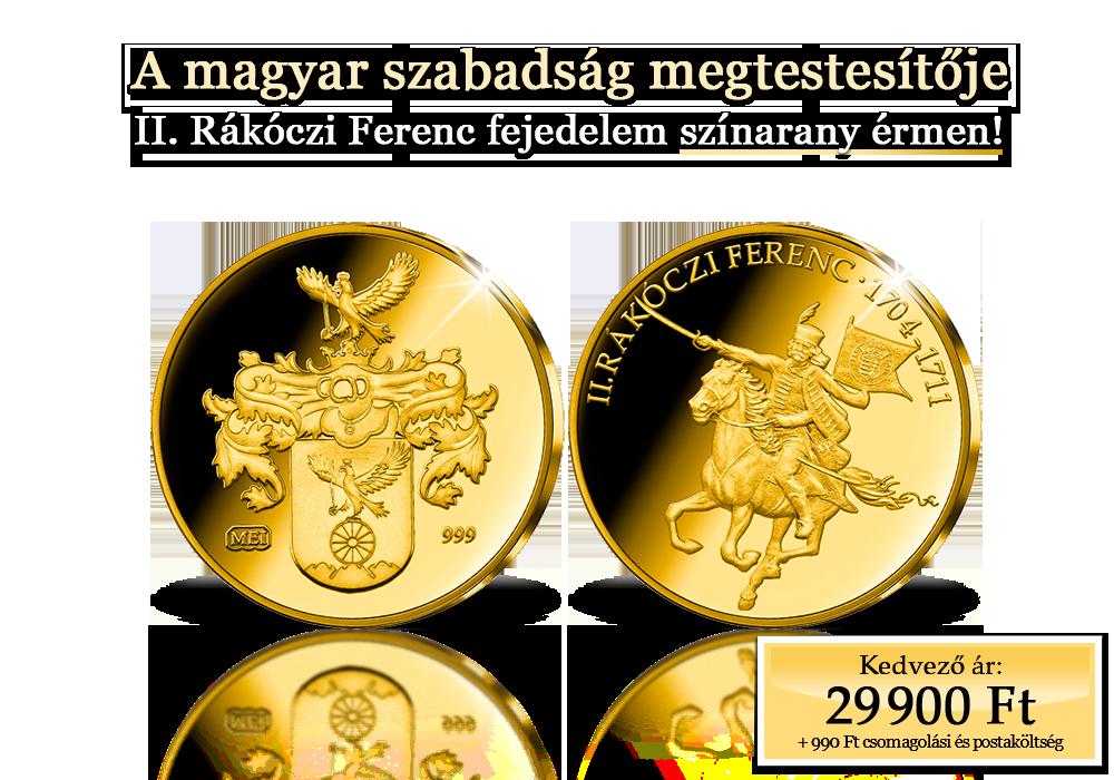 II. Rákóczi Ferenc színarany érmén