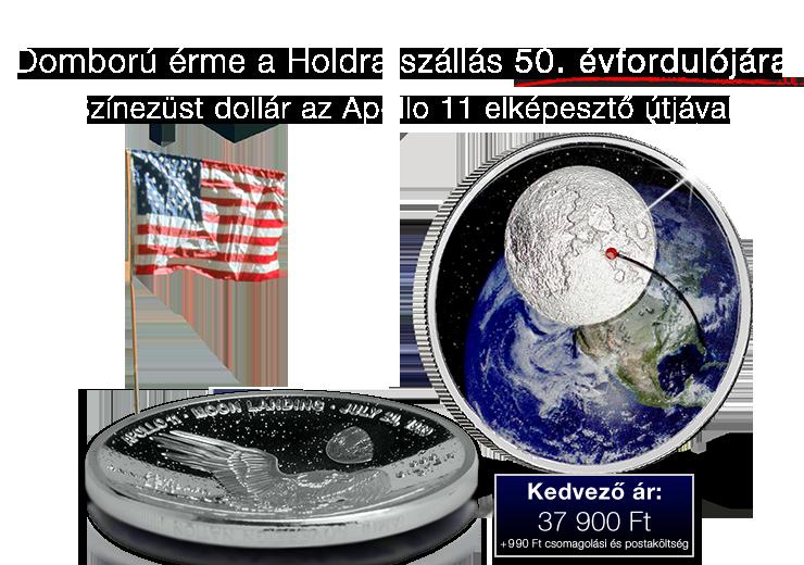Domború érme a Holdra szállás 50. évfordulójára