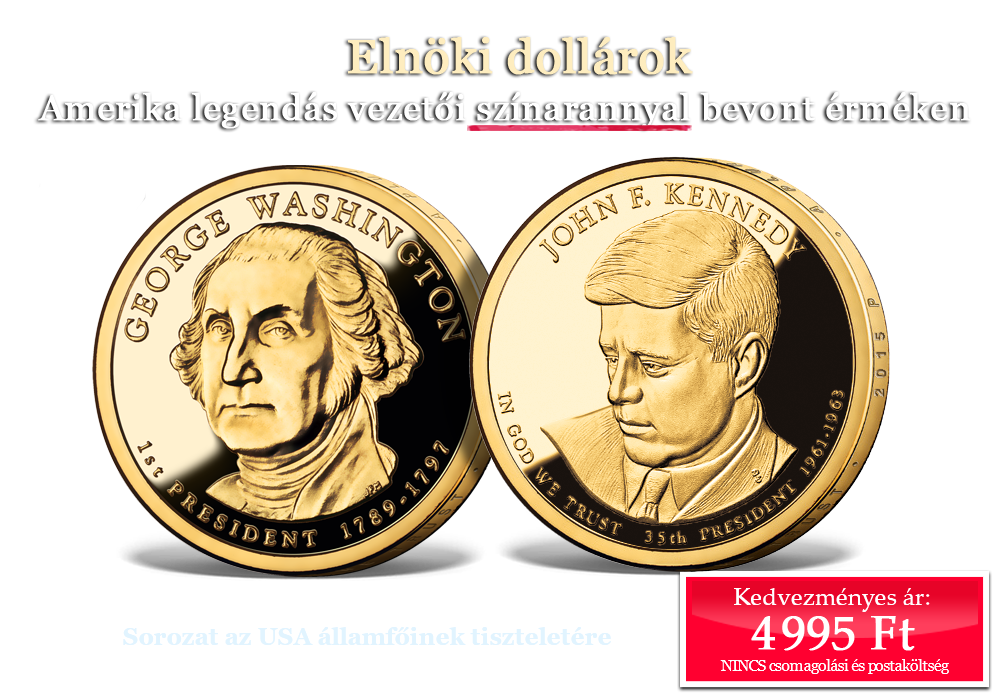 Amerika legendás vezetői színarannyal bevont érméken
