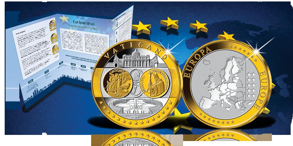 Emlékérem kollekció az euróövezet országainak közös fizetőeszközéről