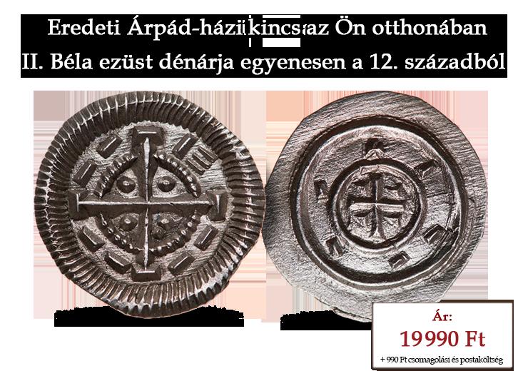 II. Béla eredeti ezüst dénárja egyenesen a 12. századból
