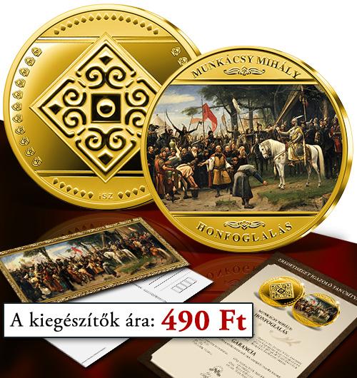 Magyar Éremkibocsátó Kft. - Színarannyal bevont Honfoglalás érem Tanúsítvánnyal és képeslappal