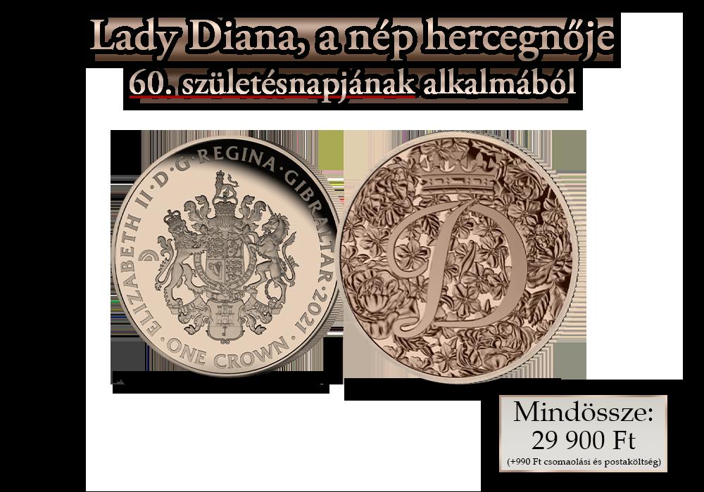 Humánium érme Diana hercegnő emlékére