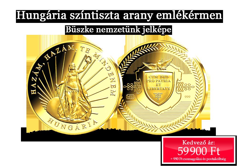 Hungária színtiszta arany emlékérmen