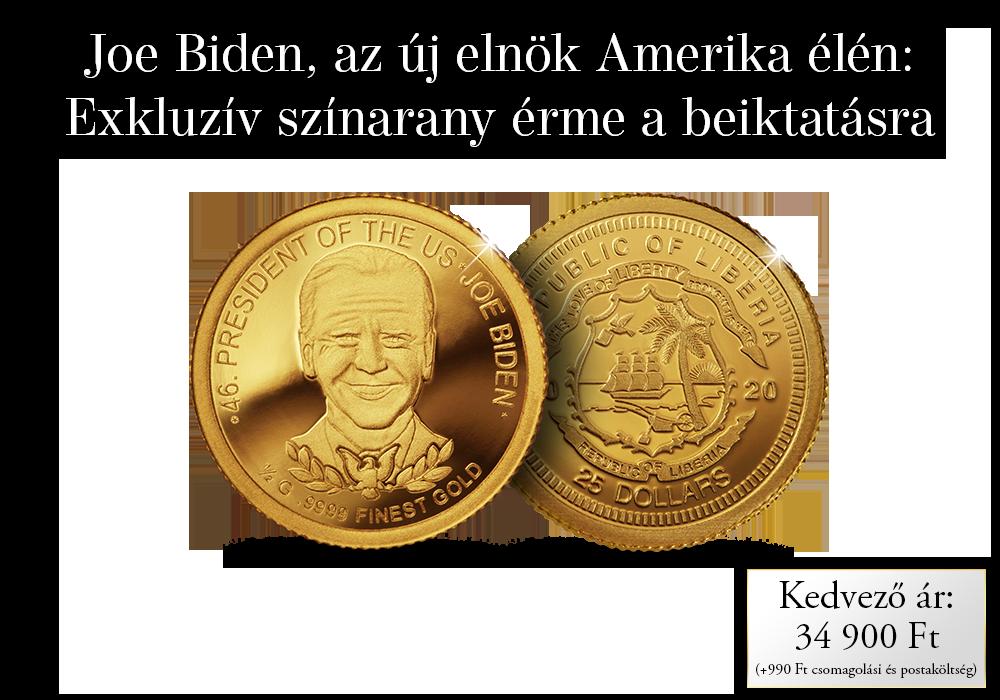 Joe Biden, az Amerikai Egyesült Államok elnöke színarany érmén