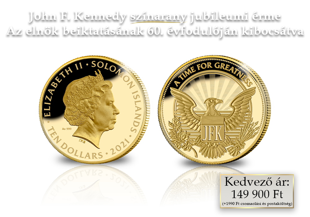John F. Kennedy érme 1/10 uncia színaranyból