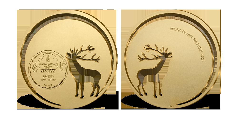 2d798da708 Magyar Éremkibocsátó Kft. - Lézervágott szarvas 24 karátos arannyal bevont  tömör ezüst érmén