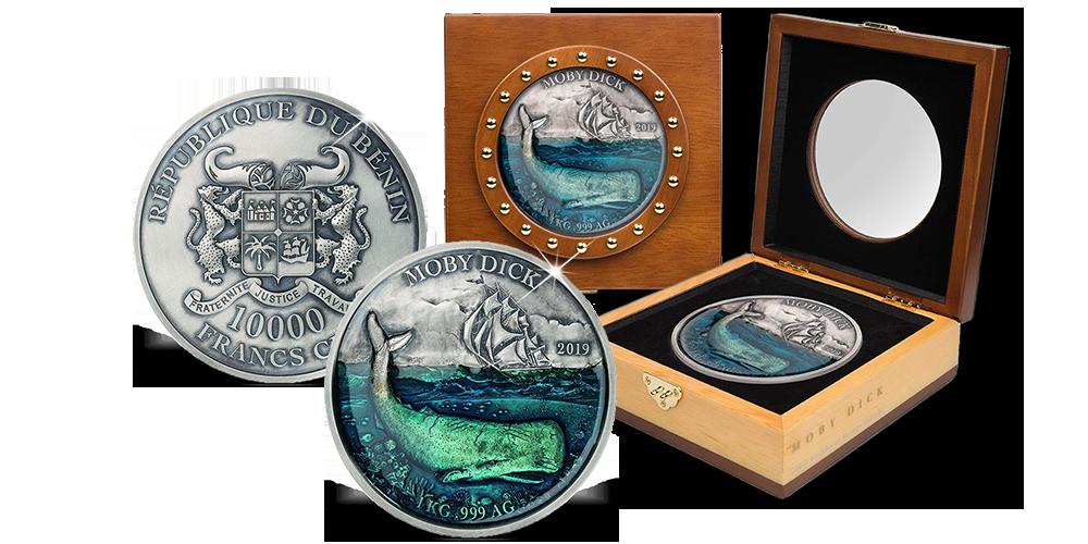 d8aca8148e Magyar Éremkibocsátó Kft. - Moby Dick érme 1 kilogramm színezüstből,  díszcsomagolásban