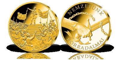 Nemzeti dal 14 karátos arany érmen
