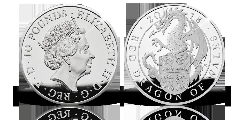 Magyar Éremkibocsátó Kft. - Wales Vörös Sárkánya 10 unciás színezüst érmén