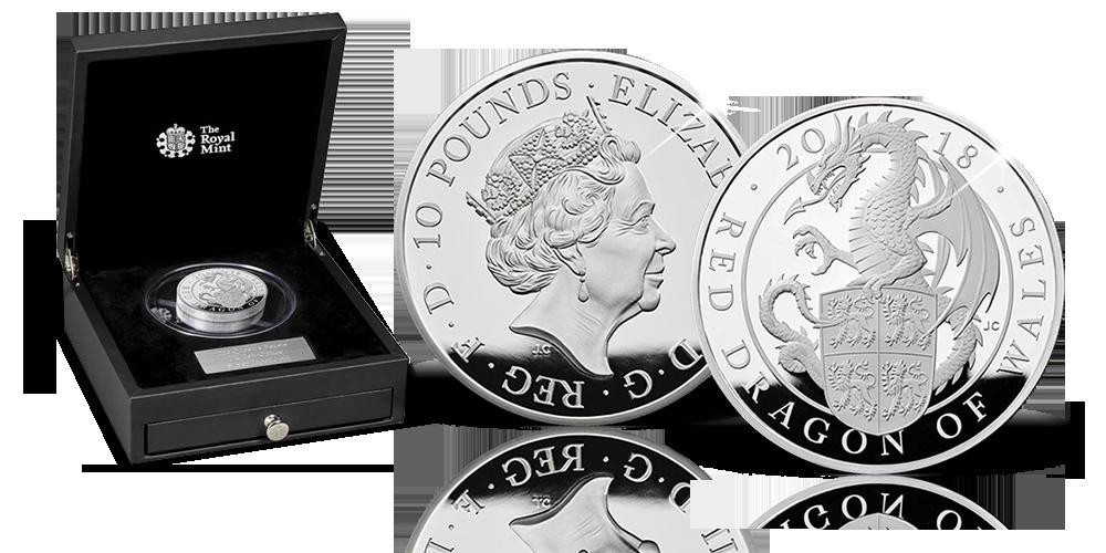 Magyar Éremkibocsátó Kft. - Őfelsége királyi állatai Wales Vörös Sárkánya ezüst érmén