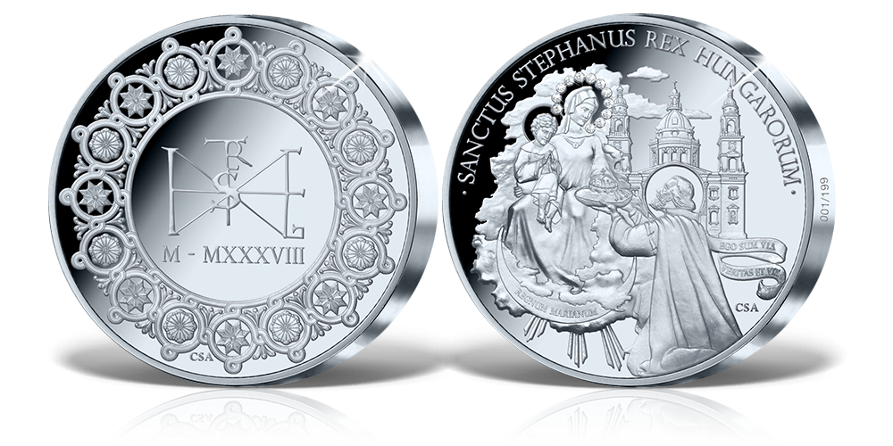 Szent István és Szűz Mária örök köteléke gyémánt berakással ékesített 1 kg-os ezüst érmen!