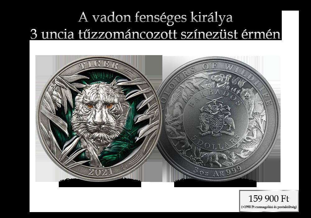 A vadon fenséges királya 3 uncia tűzzománcozott színezüst érmén