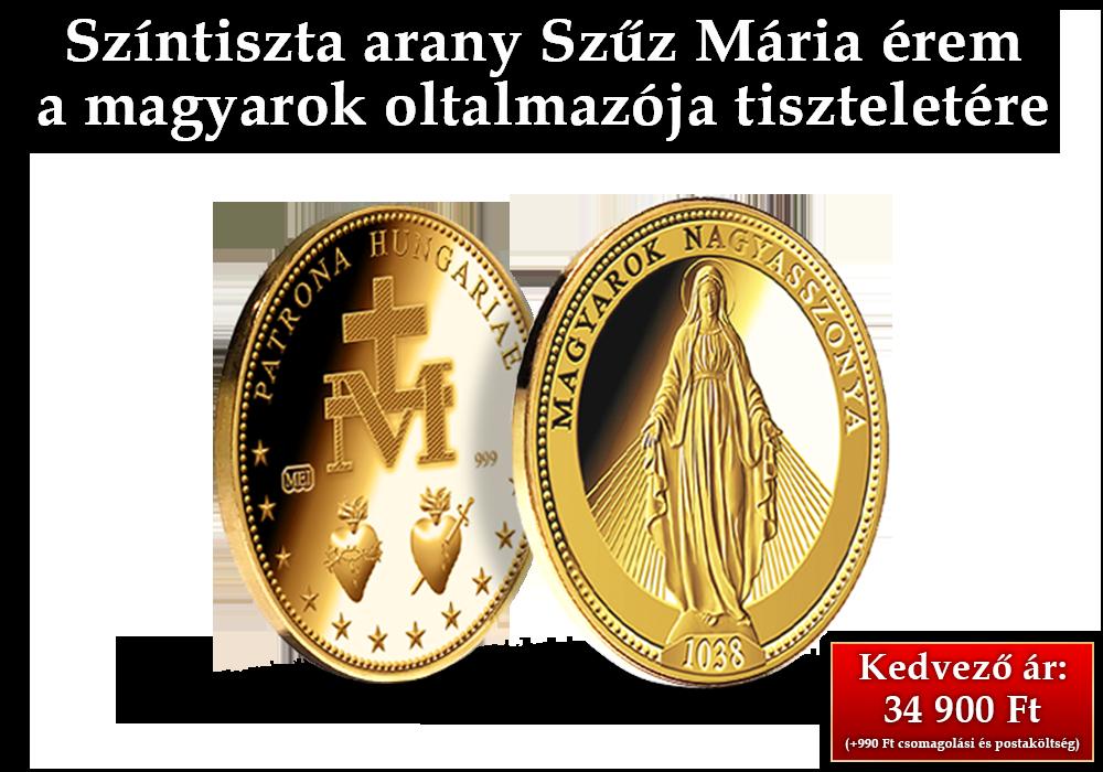 24 karátos arany emlékérem Szűz Mária tiszteletére