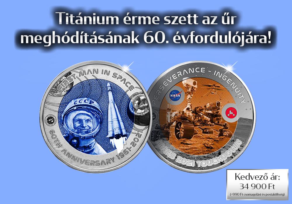 Az űr meghódításának 60 éve titánium érme szetten