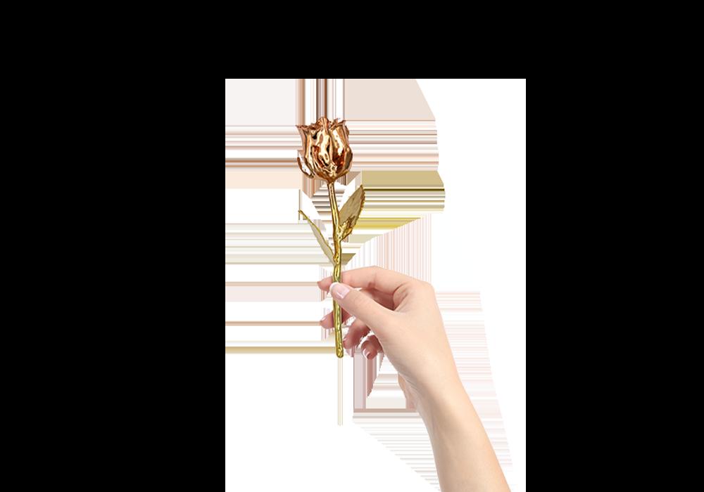 24 karátos sárga arannyal és rózsa arannyal bevont valódi rózsaszál